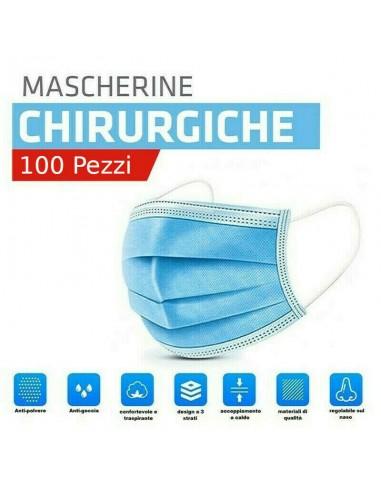 100 Mascherine chirurgiche monouso 3...
