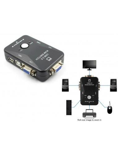 KVM Switch 2 Porte USB2.0 Per PC...